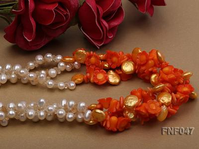 Three-strand 6-7mm White Freshwater Pearl, Golden Button Pearl, and Orange Coral Flowers Necklace FNF047 Image 4