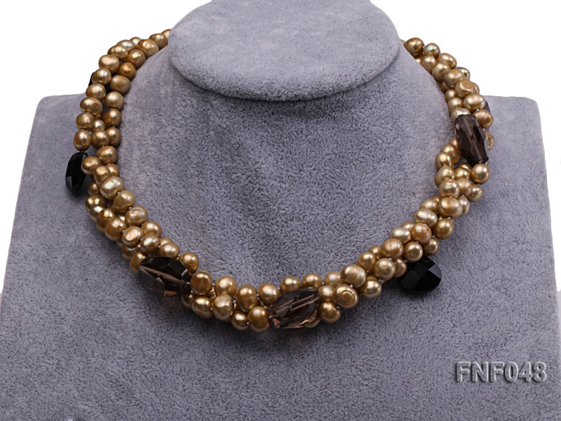 Three-strand 7-8mm Coffee Freshwater Pearl and Tea-colored Faceted Crystal Beads Necklace  big Image 2