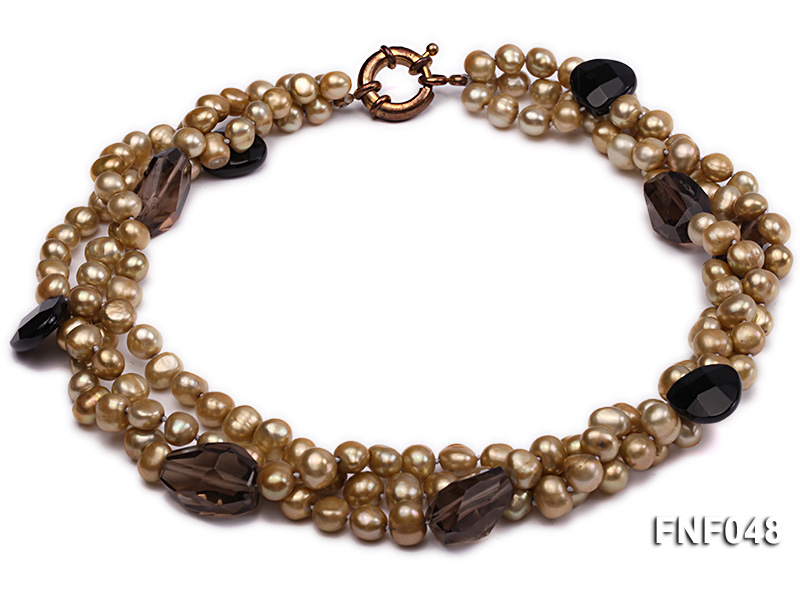 Three-strand 7-8mm Coffee Freshwater Pearl and Tea-colored Faceted Crystal Beads Necklace  big Image 1