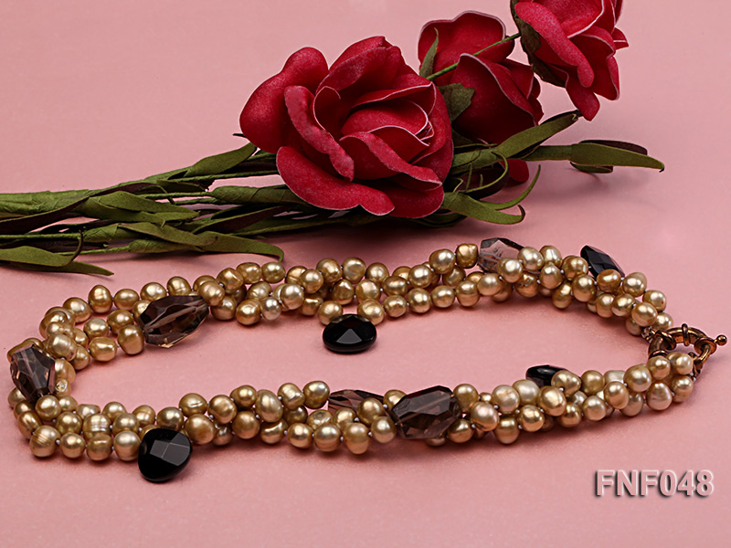 Three-strand 7-8mm Coffee Freshwater Pearl and Tea-colored Faceted Crystal Beads Necklace  big Image 3