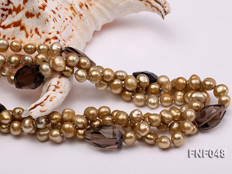 Three-strand 7-8mm Coffee Freshwater Pearl and Tea-colored Faceted Crystal Beads Necklace  big Image 4
