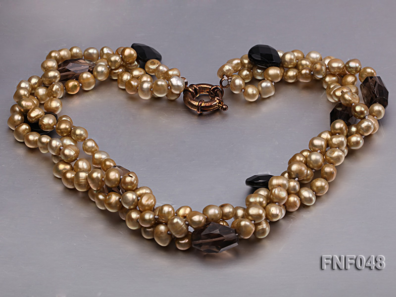 Three-strand 7-8mm Coffee Freshwater Pearl and Tea-colored Faceted Crystal Beads Necklace  big Image 5
