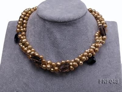 Three-strand 7-8mm Coffee Freshwater Pearl and Tea-colored Faceted Crystal Beads Necklace  FNF048 Image 2