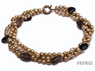 Three-strand 7-8mm Coffee Freshwater Pearl and Tea-colored Faceted Crystal Beads Necklace  FNF048 Image 1