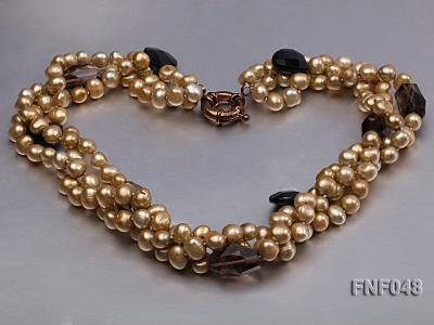 Three-strand 7-8mm Coffee Freshwater Pearl and Tea-colored Faceted Crystal Beads Necklace  FNF048 Image 5