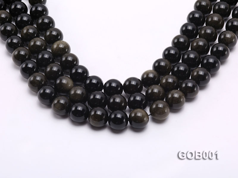 Wholesale High-quality 14mm Round Obsidian String big Image 1