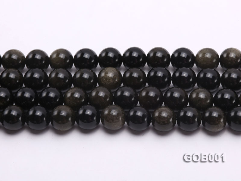Wholesale High-quality 14mm Round Obsidian String big Image 2