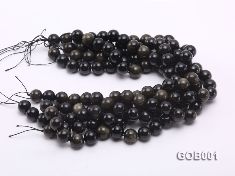 Wholesale High-quality 14mm Round Obsidian String big Image 3