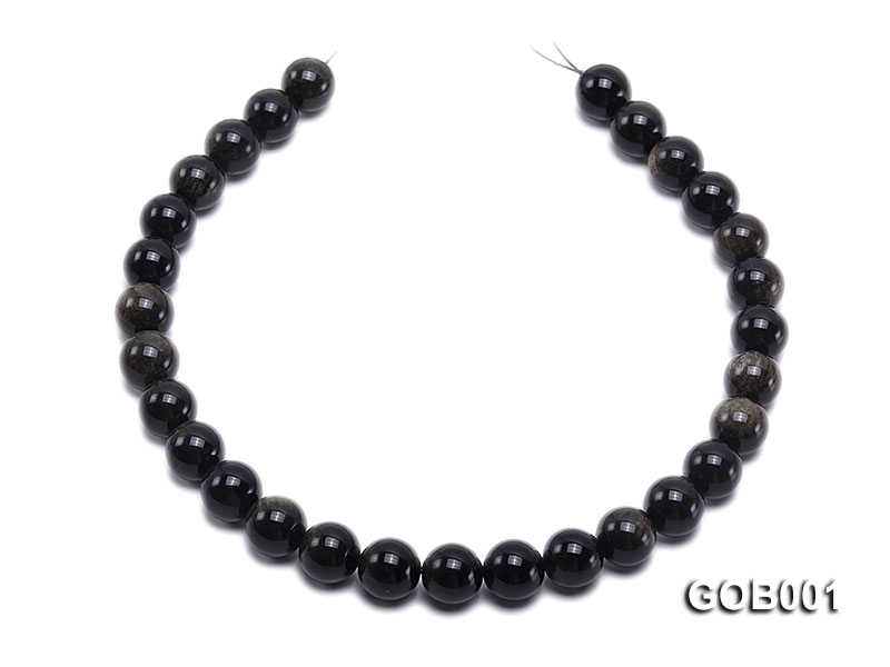 Wholesale High-quality 14mm Round Obsidian String big Image 4
