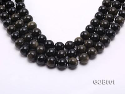 Wholesale High-quality 14mm Round Obsidian String GOB001 Image 1
