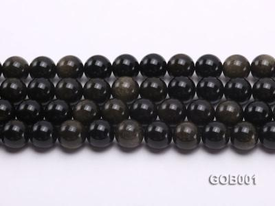 Wholesale High-quality 14mm Round Obsidian String GOB001 Image 2