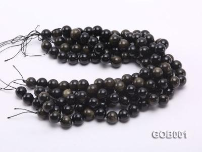 Wholesale High-quality 14mm Round Obsidian String GOB001 Image 3
