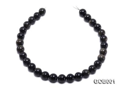 Wholesale High-quality 14mm Round Obsidian String GOB001 Image 4