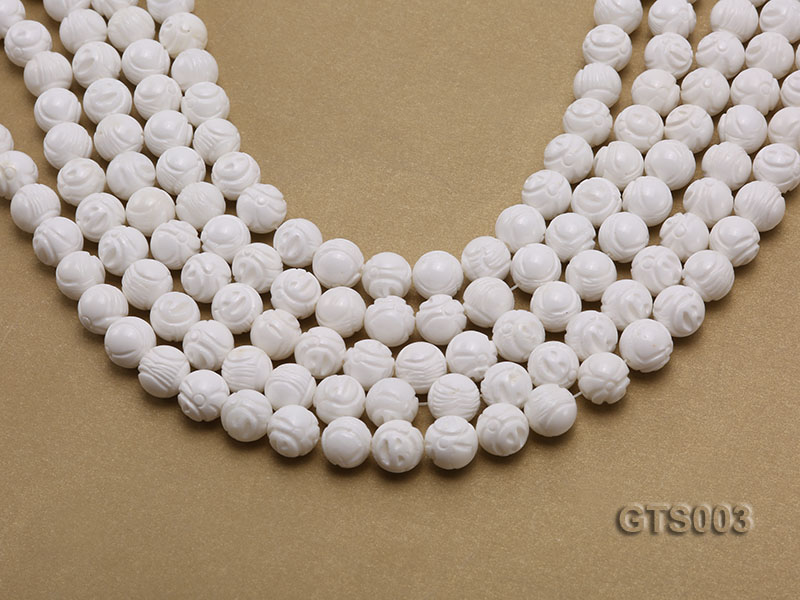 Wholesale 10mm Round Carved Tridacna String big Image 1