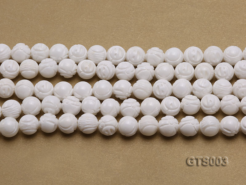Wholesale 10mm Round Carved Tridacna String big Image 2