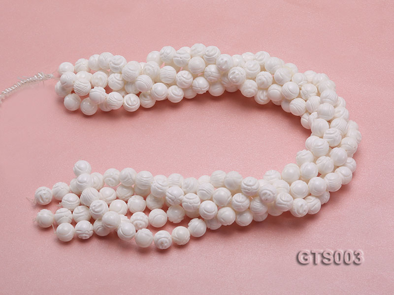 Wholesale 10mm Round Carved Tridacna String big Image 3