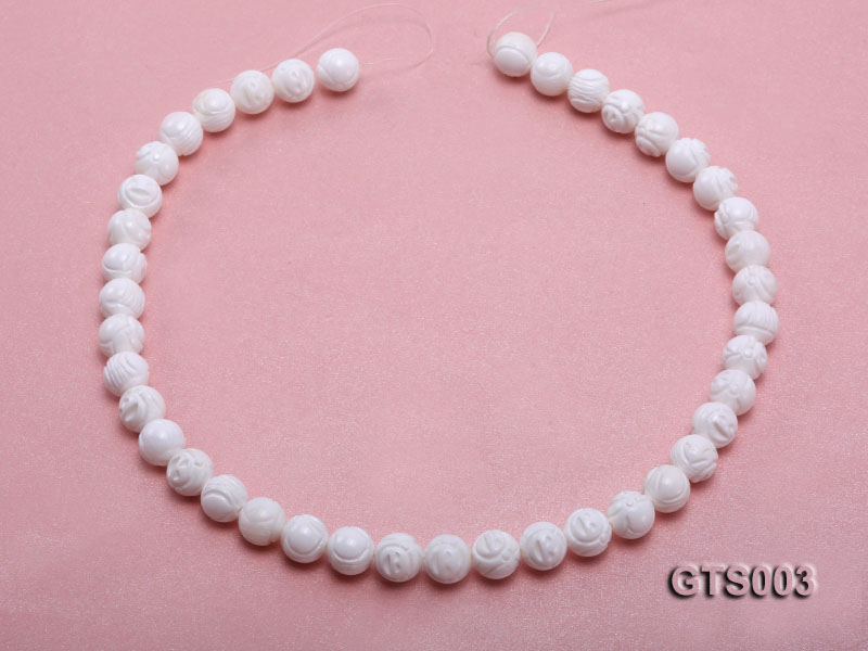 Wholesale 10mm Round Carved Tridacna String big Image 4
