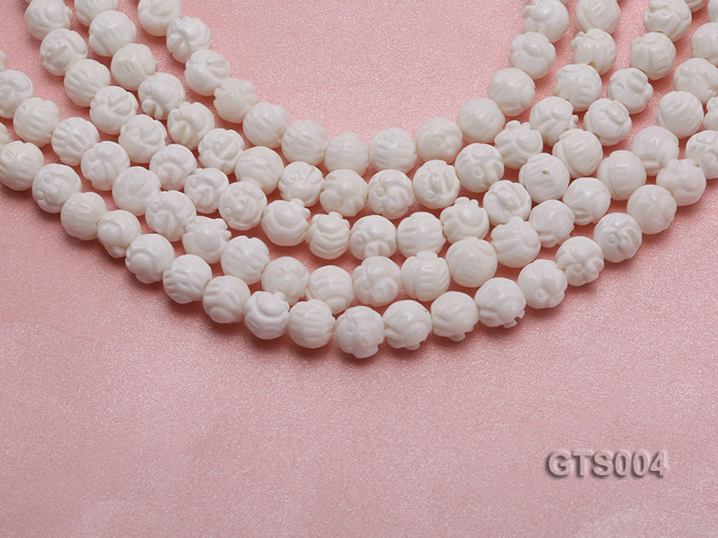 Wholesale 8mm Round Carved Tridacna String big Image 1