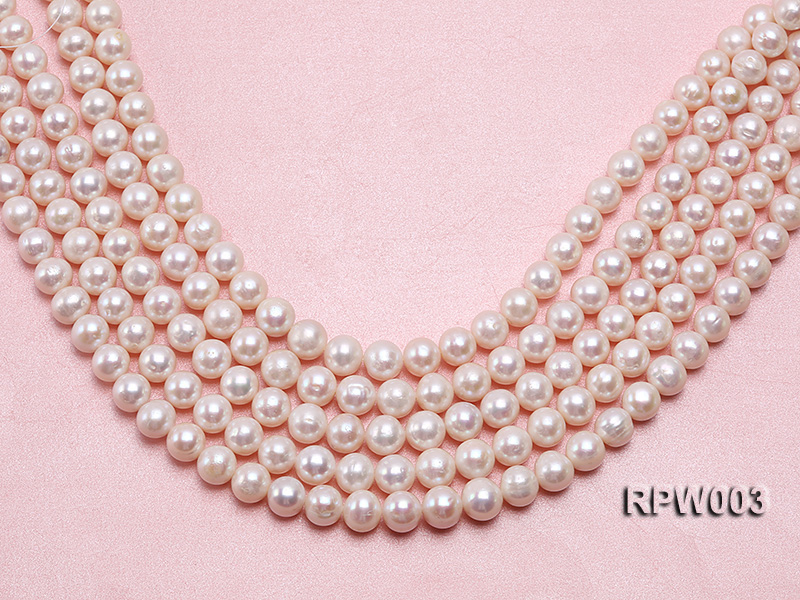 Wholesale 10-11mm Classic White Round Freshwater Pearl String big Image 1