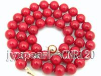 AAA Quality 9mm Round Red Coral Necklace with 14k Gold Clasp CNR120