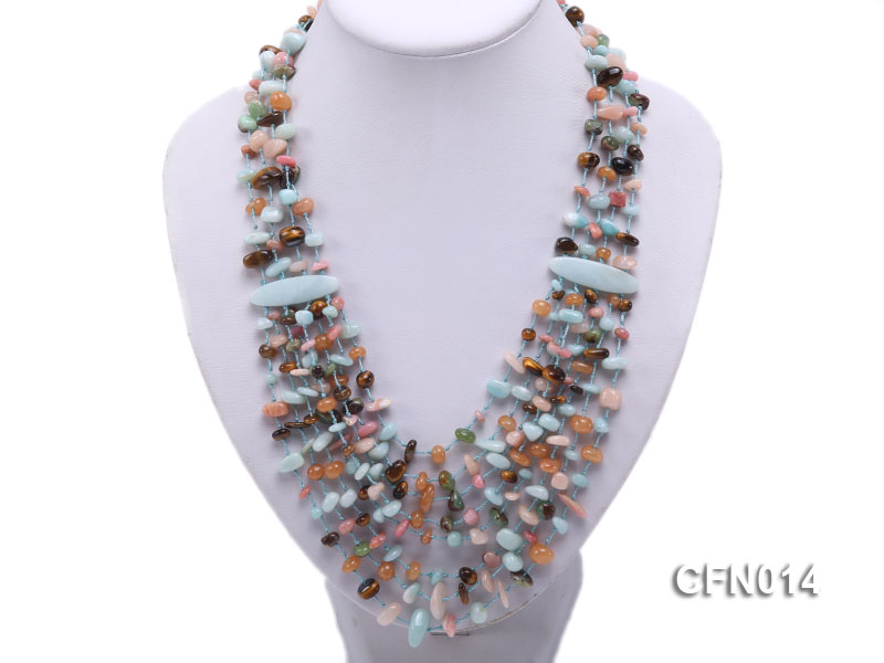 6-10mm Eight-Row Colorful Gemstone Necklace big Image 4