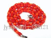 5.5mm Round and Carved Red Coral Necklace CNR121