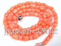 5.5mm Round and Carved Pink Coral Necklace CNR122