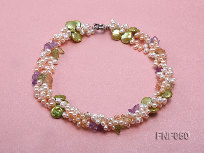 Three-strand Cultured Freshwater Pearl Necklace with colorful Crystal Chips big Image 1