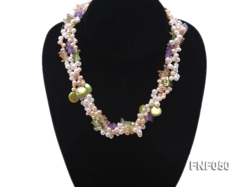 Three-strand Cultured Freshwater Pearl Necklace with colorful Crystal Chips big Image 5