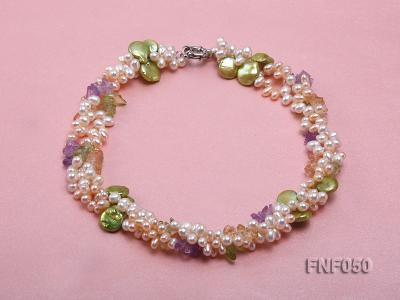 Three-strand Cultured Freshwater Pearl Necklace with colorful Crystal Chips FNF050 Image 1