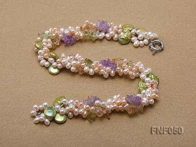 Three-strand Cultured Freshwater Pearl Necklace with colorful Crystal Chips FNF050 Image 3
