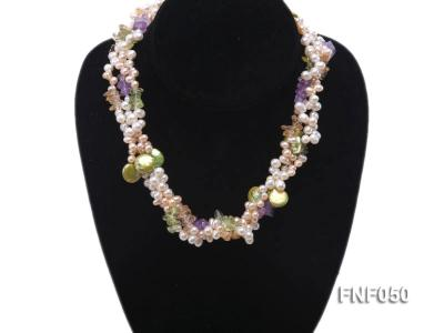 Three-strand Cultured Freshwater Pearl Necklace with colorful Crystal Chips FNF050 Image 5