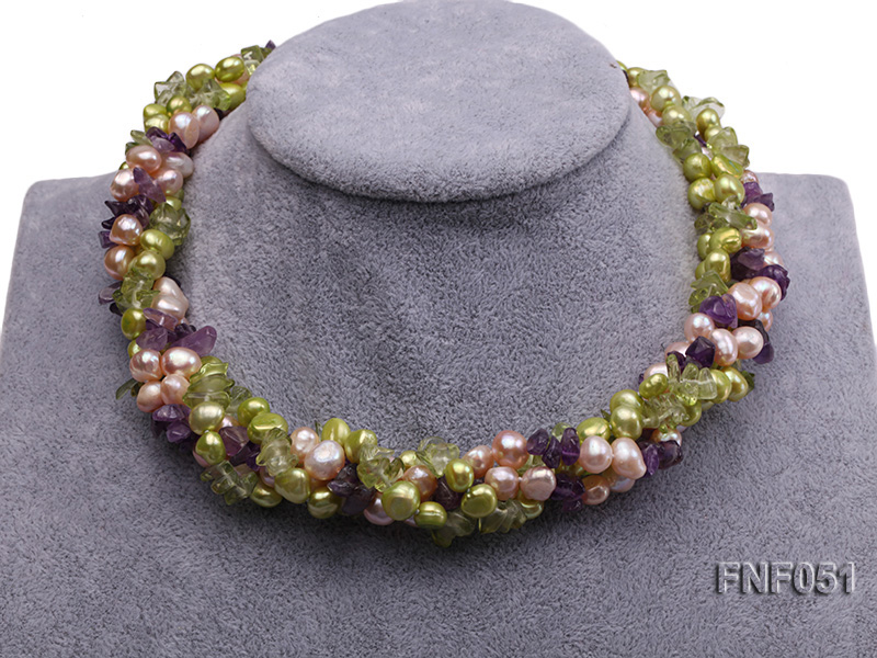 Four-strand 7-8mm Green and Pink Freshwater Pearl Necklace with Olivine Chips and Crystal Chips big Image 2