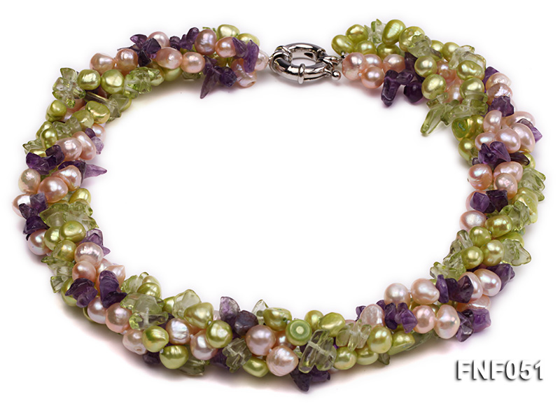 Four-strand 7-8mm Green and Pink Freshwater Pearl Necklace with Olivine Chips and Crystal Chips big Image 1