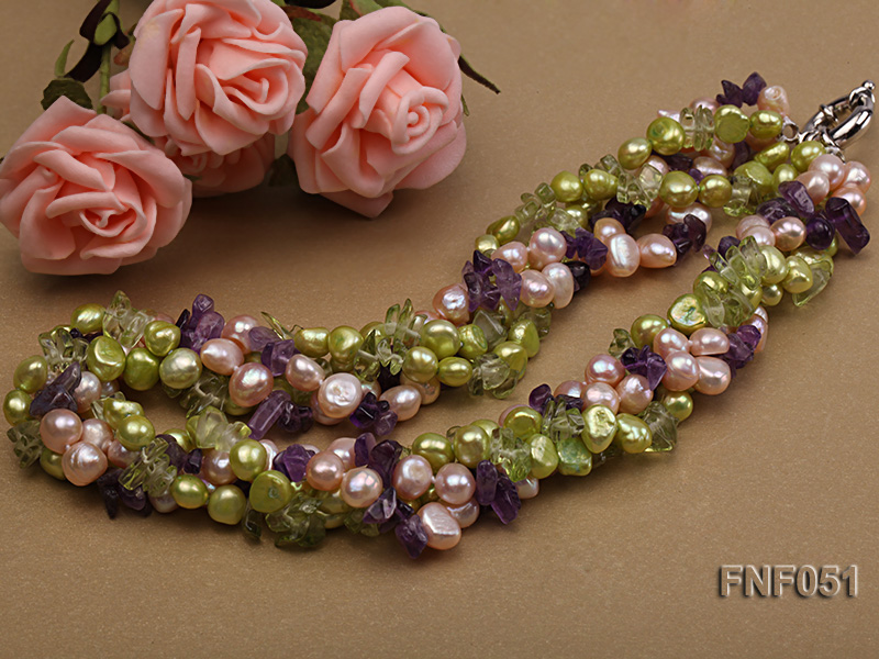 Four-strand 7-8mm Green and Pink Freshwater Pearl Necklace with Olivine Chips and Crystal Chips big Image 3