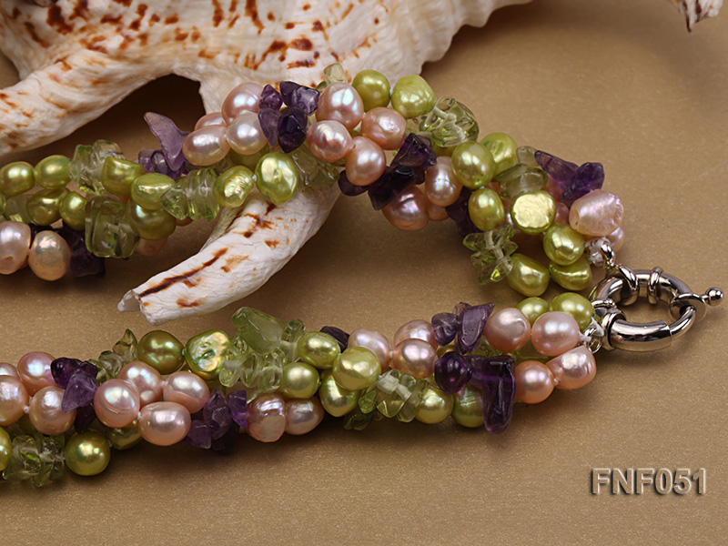 Four-strand 7-8mm Green and Pink Freshwater Pearl Necklace with Olivine Chips and Crystal Chips big Image 4