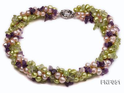 Four-strand 7-8mm Green and Pink Freshwater Pearl Necklace with Olivine Chips and Crystal Chips FNF051 Image 1