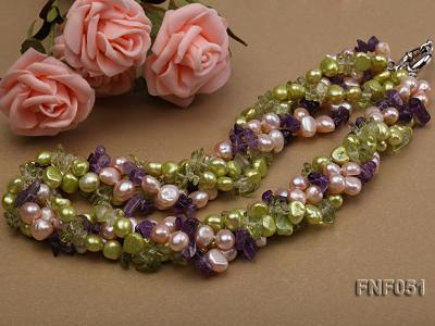 Four-strand 7-8mm Green and Pink Freshwater Pearl Necklace with Olivine Chips and Crystal Chips FNF051 Image 3
