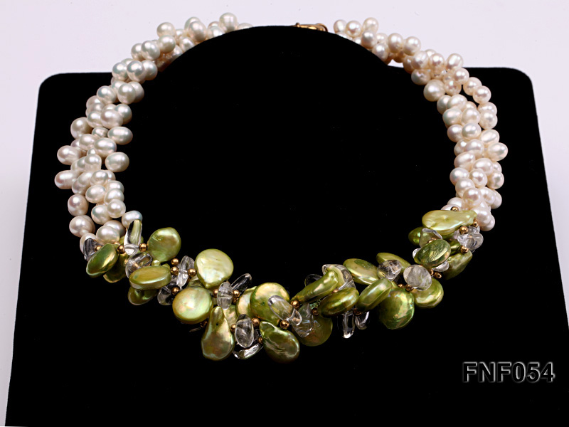 Three-strand White Freshwater Pearl, Green Button Pearl and Crystal Beads Necklace big Image 2