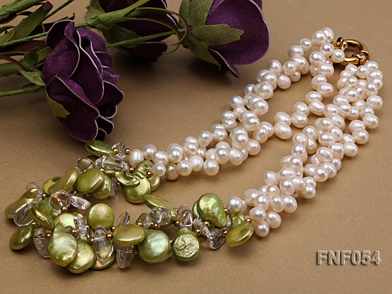 Three-strand White Freshwater Pearl, Green Button Pearl and Crystal Beads Necklace big Image 3