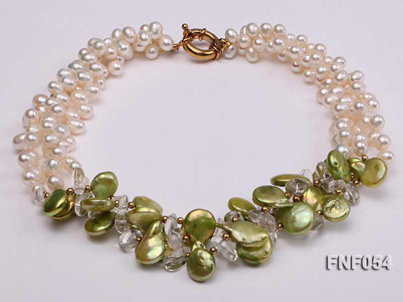 Three-strand White Freshwater Pearl, Green Button Pearl and Crystal Beads Necklace big Image 1