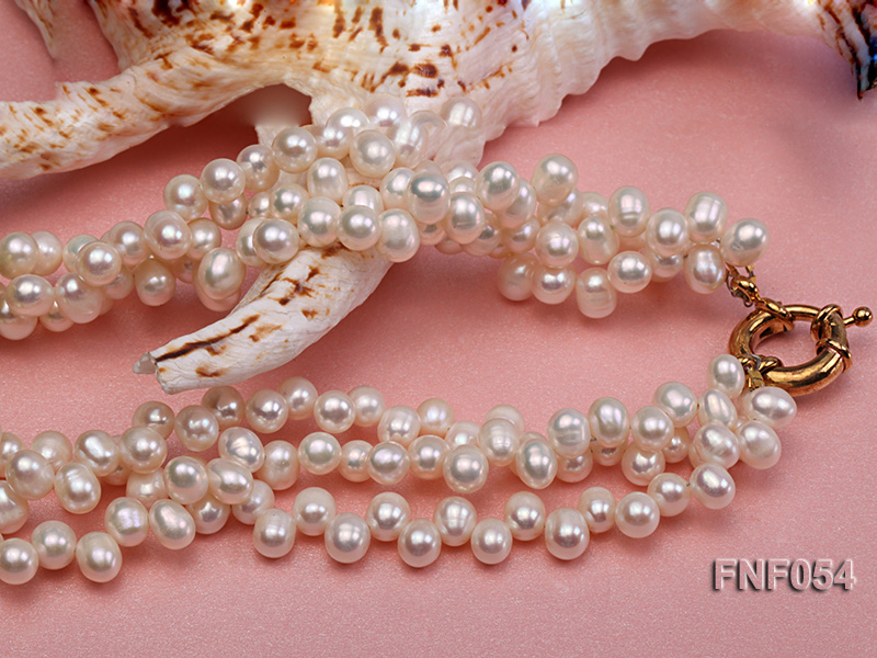 Three-strand White Freshwater Pearl, Green Button Pearl and Crystal Beads Necklace big Image 4