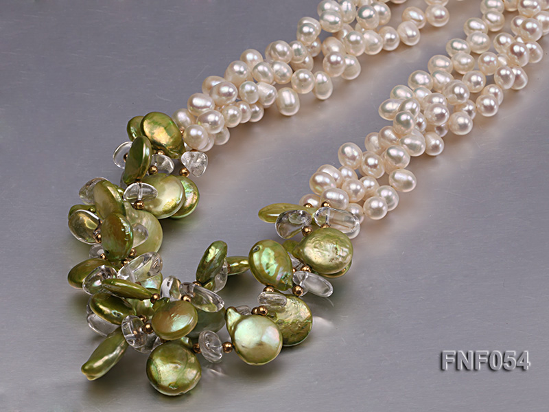 Three-strand White Freshwater Pearl, Green Button Pearl and Crystal Beads Necklace big Image 5