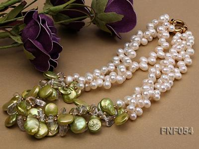 Three-strand White Freshwater Pearl, Green Button Pearl and Crystal Beads Necklace FNF054 Image 3