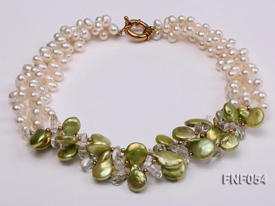 Three-strand White Freshwater Pearl, Green Button Pearl and Crystal Beads Necklace FNF054 Image 1