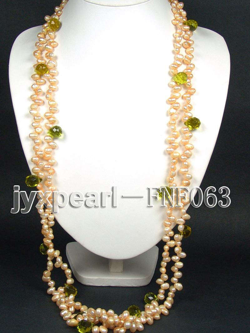 Two-strand 6x8mm Cultured Freshwater Pearl Necklace with Crystal Beads big Image 6