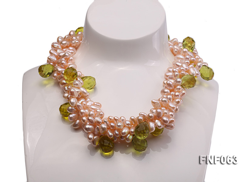 Two-strand 6x8mm Cultured Freshwater Pearl Necklace with Crystal Beads big Image 2