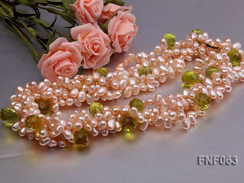 Two-strand 6x8mm Cultured Freshwater Pearl Necklace with Crystal Beads big Image 3