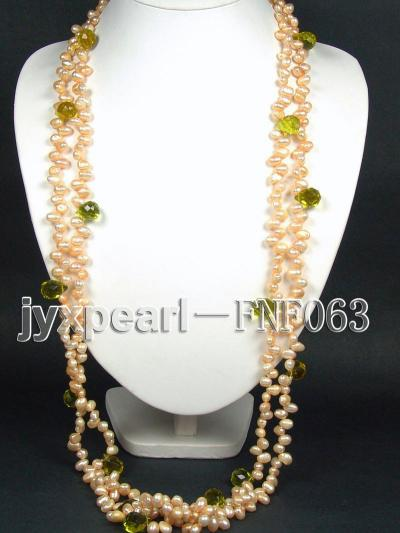 Two-strand 6x8mm Cultured Freshwater Pearl Necklace with Crystal Beads FNF063 Image 6