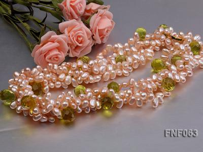 Two-strand 6x8mm Cultured Freshwater Pearl Necklace with Crystal Beads FNF063 Image 3